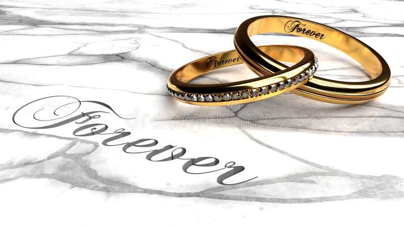 Счастливое замужество, влюбленность навсегда, совместно вечно иллюстрация вектора