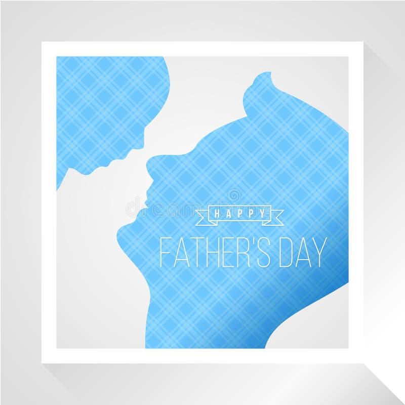 Счастливое знамя дня отца с голубой предпосылкой отца и сына лицом к лицу и шотландской тартана текстуры в белом дизайне вектора  иллюстрация штока