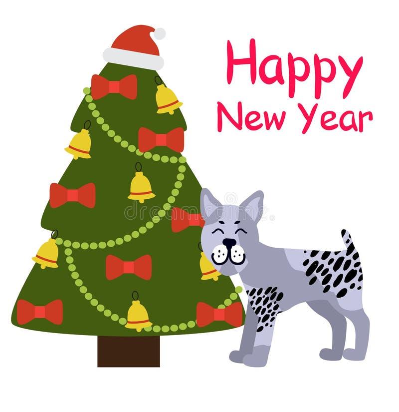 Счастливое знамя Нового Года с серой собакой около дерева Xmas иллюстрация штока