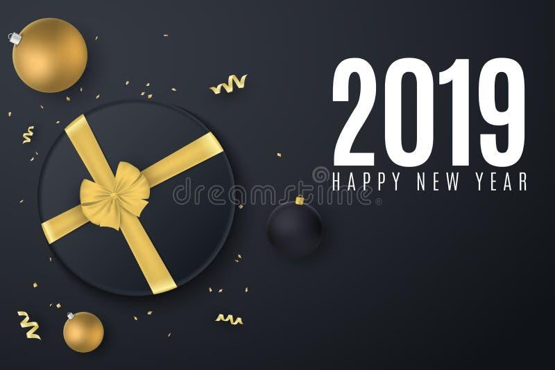 Счастливое знамя 2019 Нового Года Черная подарочная коробка с лентой золота год рождества 2007 шариков Confetti с серпентином Раз бесплатная иллюстрация