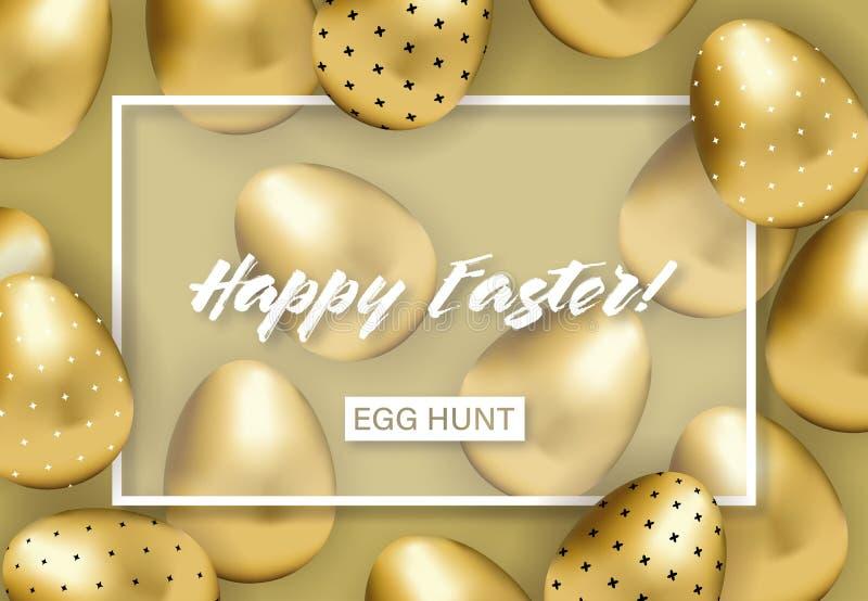 Счастливое знамя пасхи с золотыми сделанными по образцу яйцами бесплатная иллюстрация
