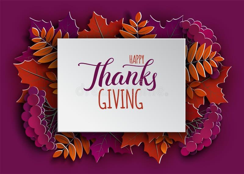 Счастливое знамя праздника благодарения с текстом поздравлению на рамке Дерево осени выходит граница на фиолетовую предпосылку иллюстрация вектора