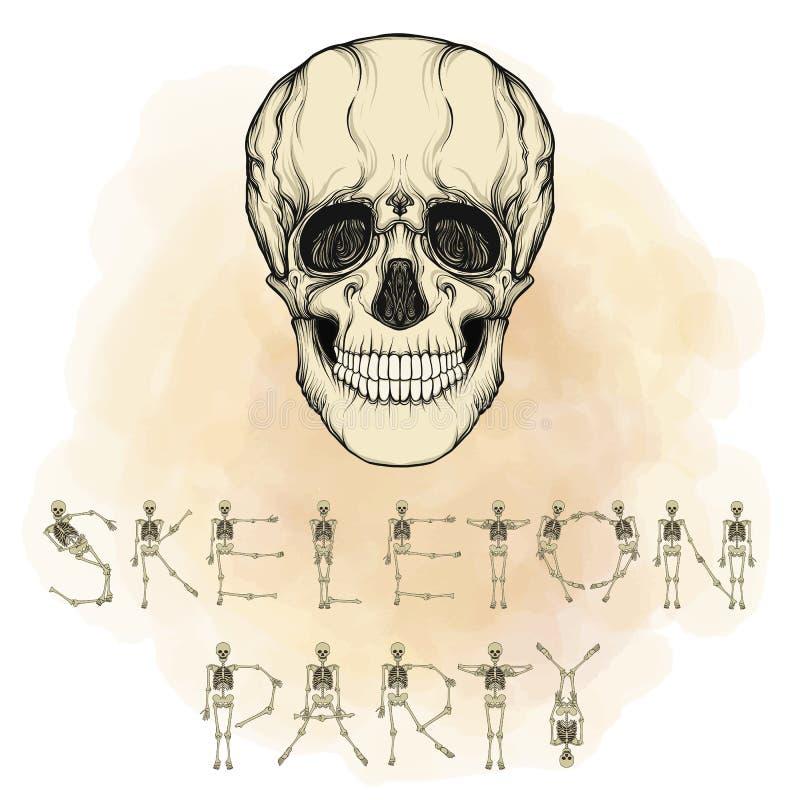 Счастливое знамя хеллоуина с человеческим черепом Хороший для хеллоуина или t бесплатная иллюстрация