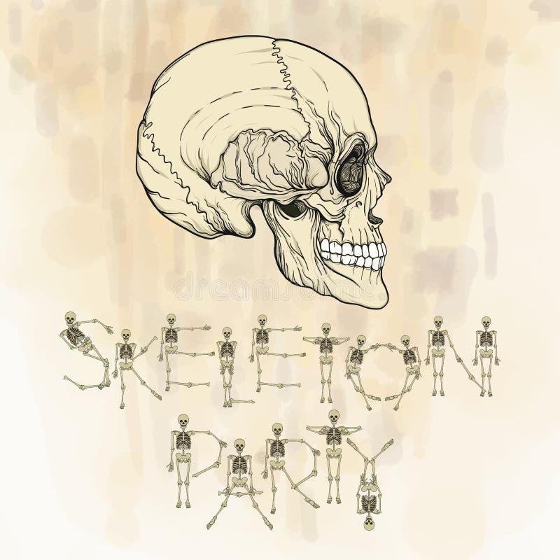 Счастливое знамя хеллоуина с человеческим черепом Хороший для хеллоуина или t иллюстрация штока