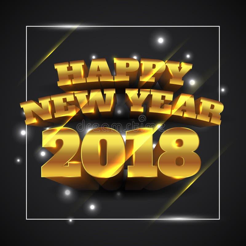 Счастливое золото 2018 Нового Года с черной предпосылкой - иллюстрацией вектора иллюстрация вектора