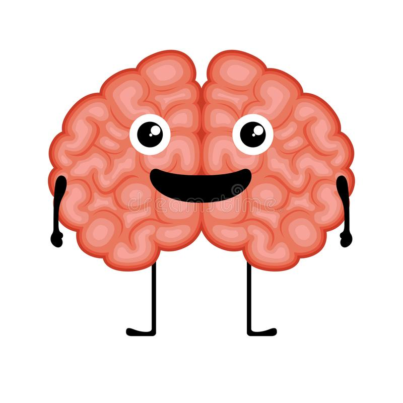 Счастливое изображение мультфильма мозга иллюстрация штока