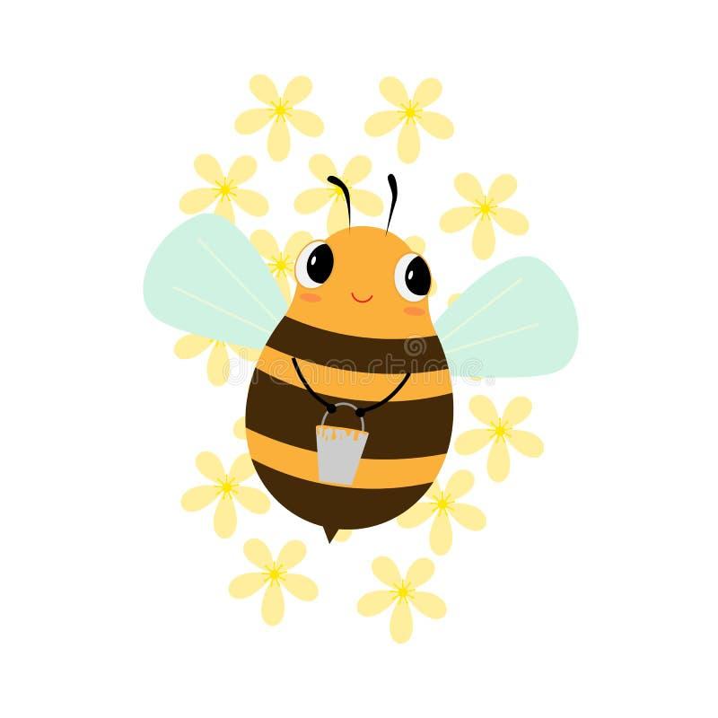 Счастливое летание пчелы с ведром меда бесплатная иллюстрация