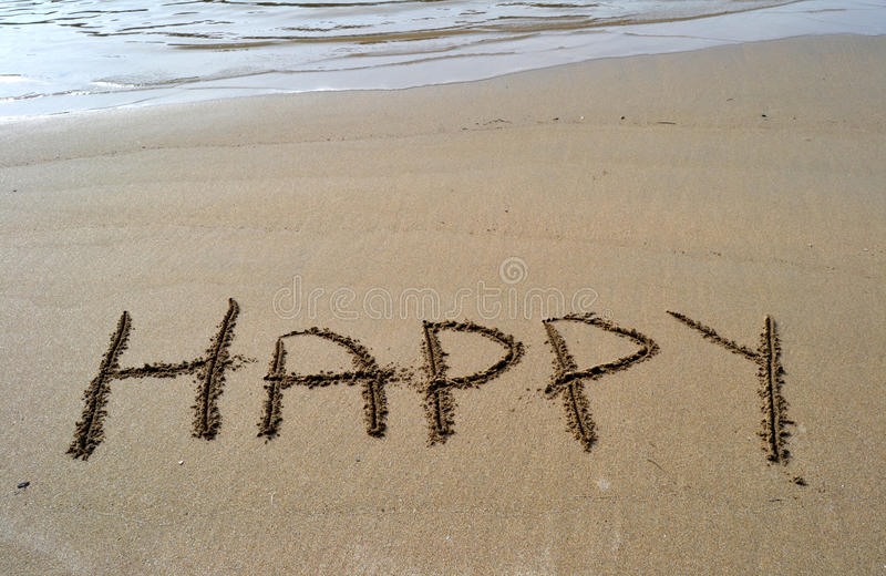 счастливое написанное слово песка стоковая фотография rf