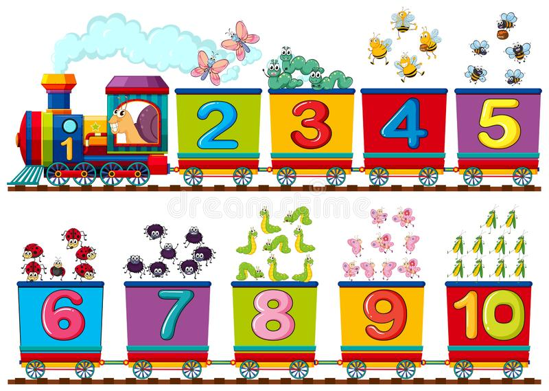 Счастливое насекомое на номере поезда иллюстрация вектора