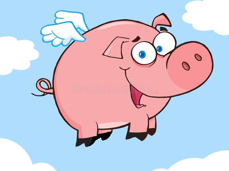 счастливое небо летая свиньи иллюстрация штока