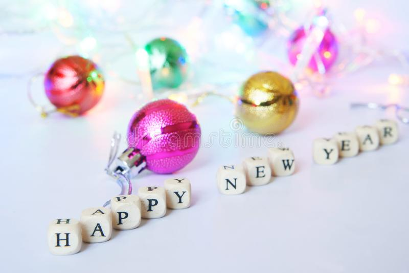 счастливое Новый Год Кубы с письмами на светлой поверхности стоковая фотография rf
