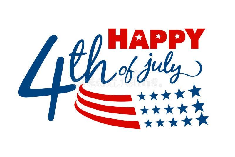 Счастливое 4-ое из сообщения в июле стоковое изображение