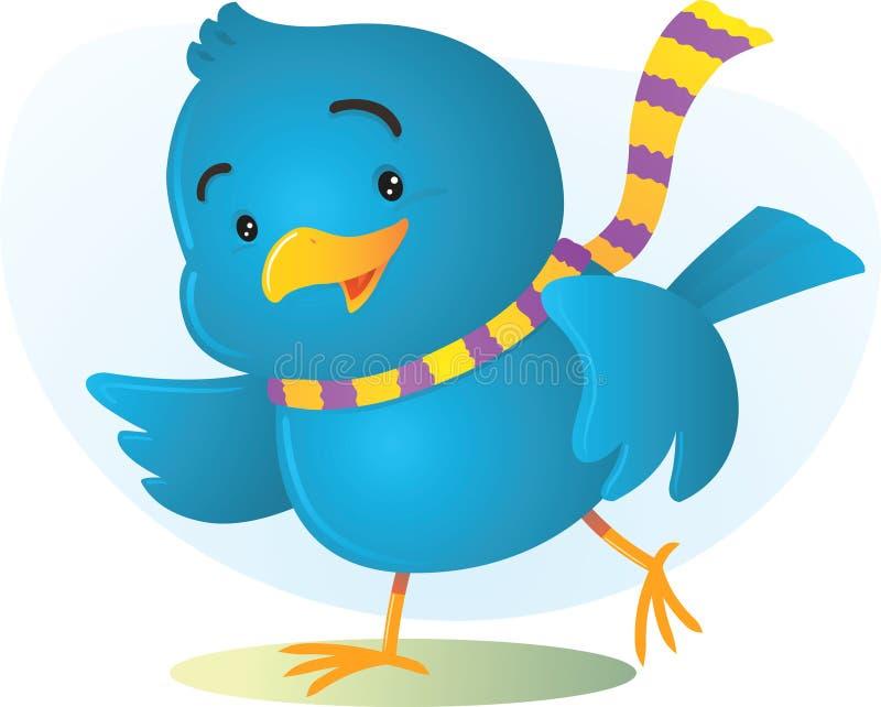 счастливое птицы голубое иллюстрация вектора