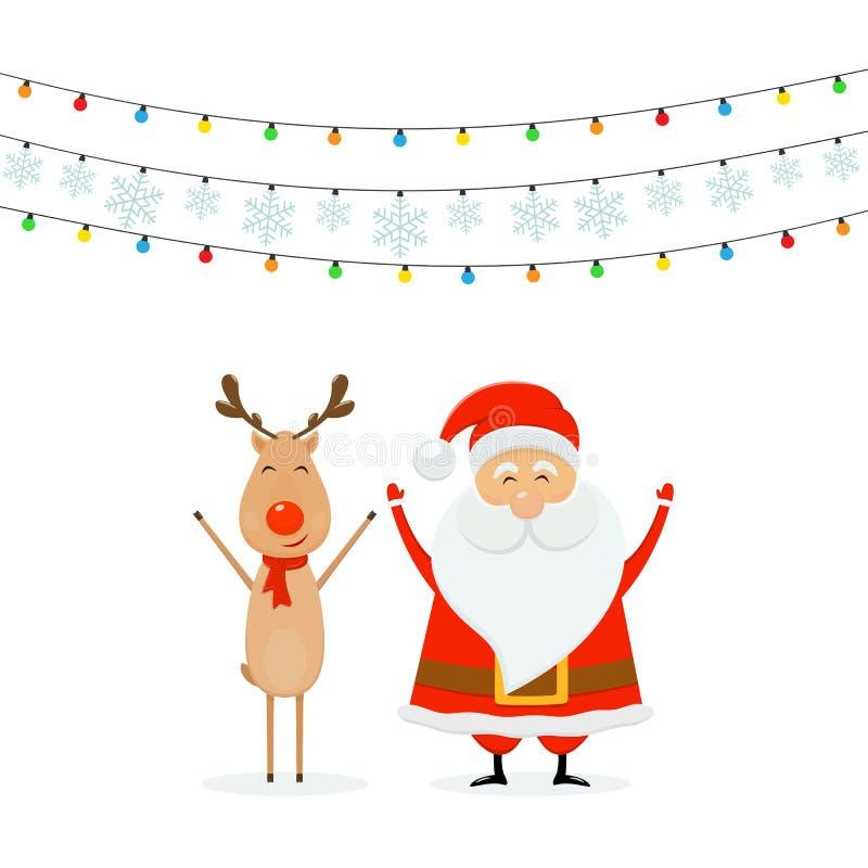 Счастливое Санта с северным оленем и светами рождества с снежинками o иллюстрация штока
