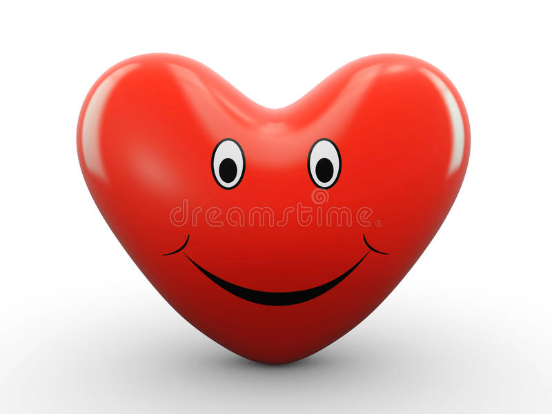 счастливое сердце 3d иллюстрация штока
