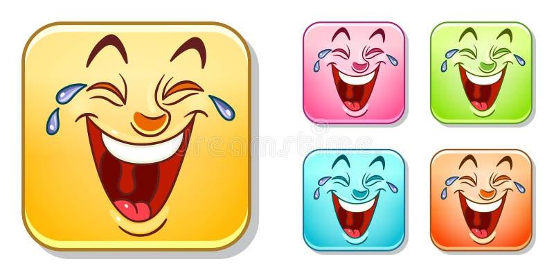 Счастливое смеясь над собрание смайликов иллюстрация вектора