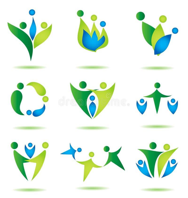 Счастливое собрание икон семьи, конструкция логоса иллюстрация вектора