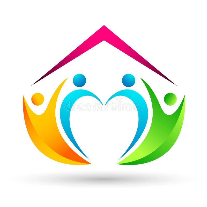 Счастливое соединение дома дома семьи, сердце любов сформировало логотип на белой предпосылке бесплатная иллюстрация