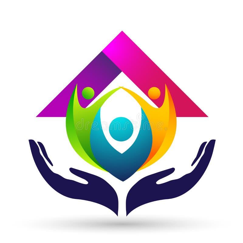 Счастливое соединение, любовь и забота семьи счастливые с логотипом формы бесплатная иллюстрация