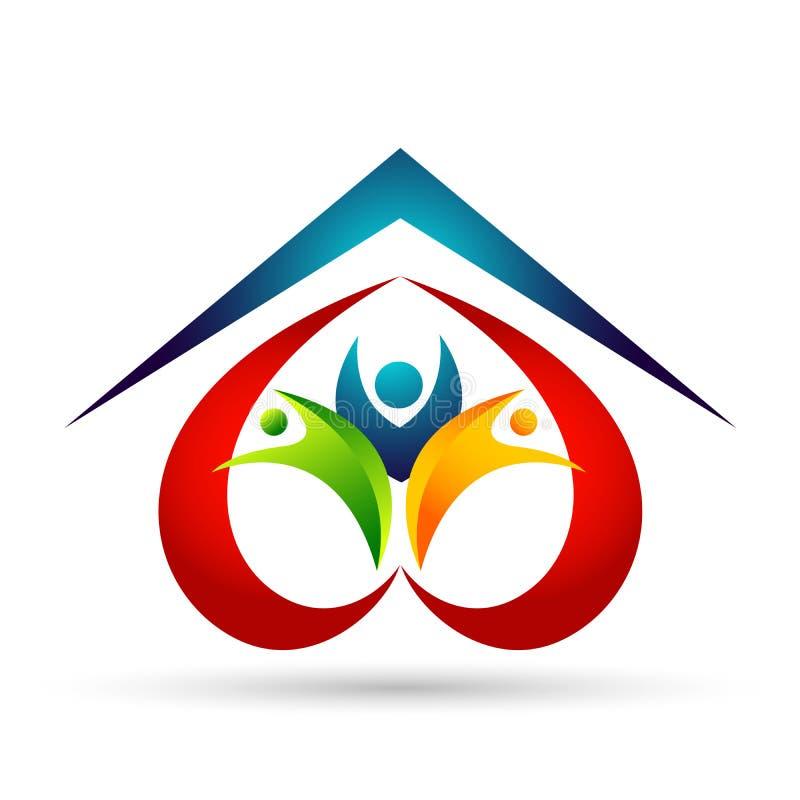 Счастливое соединение семьи, сердце любов сформировало детей заботы и заботы счастливых с домашним логотипом формы крыши дома иллюстрация штока