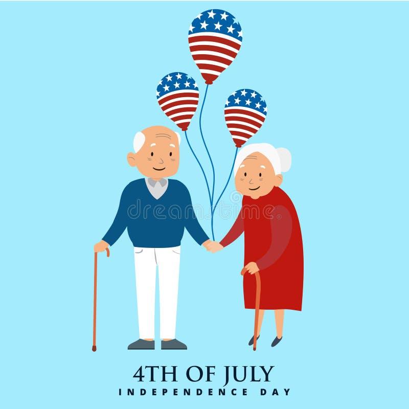 Счастливое старые люди с воздушными шарами на День независимости США иллюстрация вектора