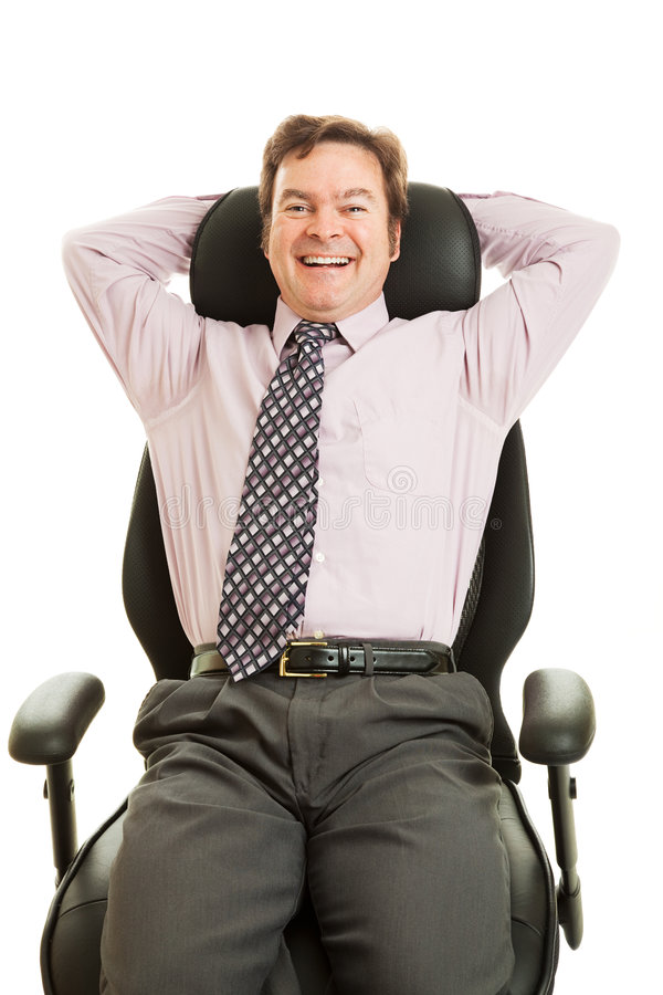 счастливое стула эргономическое исполнительное стоковое изображение rf
