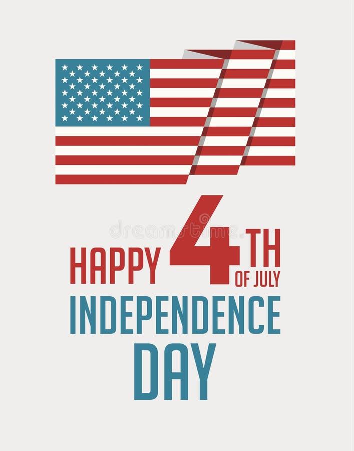 Счастливое 4-ый из плаката вектора США Дня независимости в июле бесплатная иллюстрация