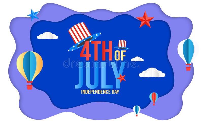 Счастливое 4-ый из США -го дизайна поздравительной открытки Дня независимости в июле r отрезок бумаги иллюстрация вектора