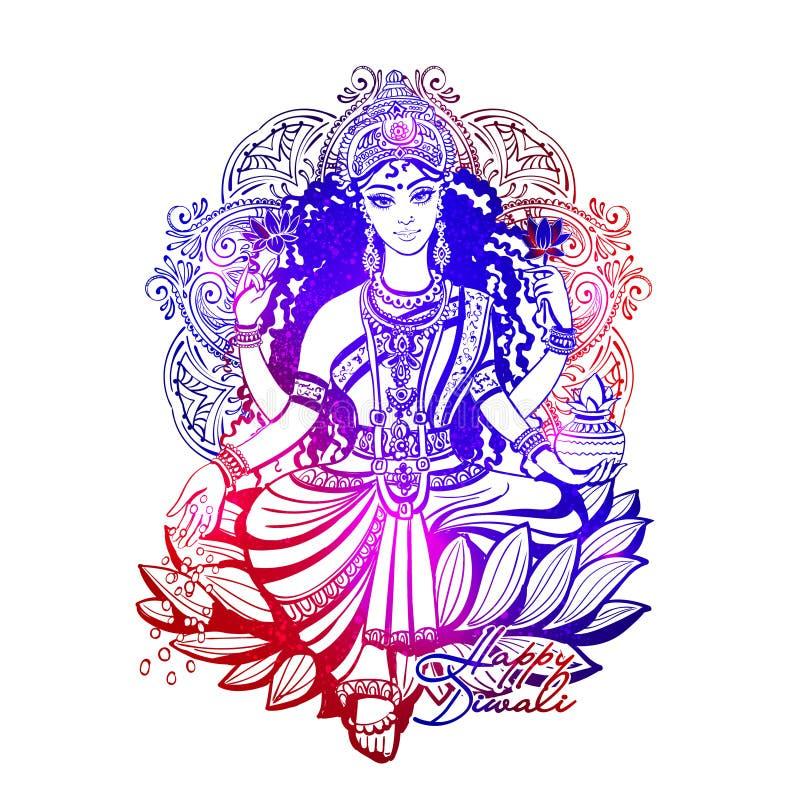 Счастливое Diwali Lakshmi иллюстрация вектора