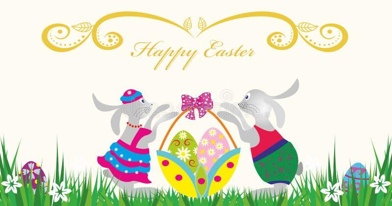 Счастливое Easter.Rabbit с корзиной яичек иллюстрация штока