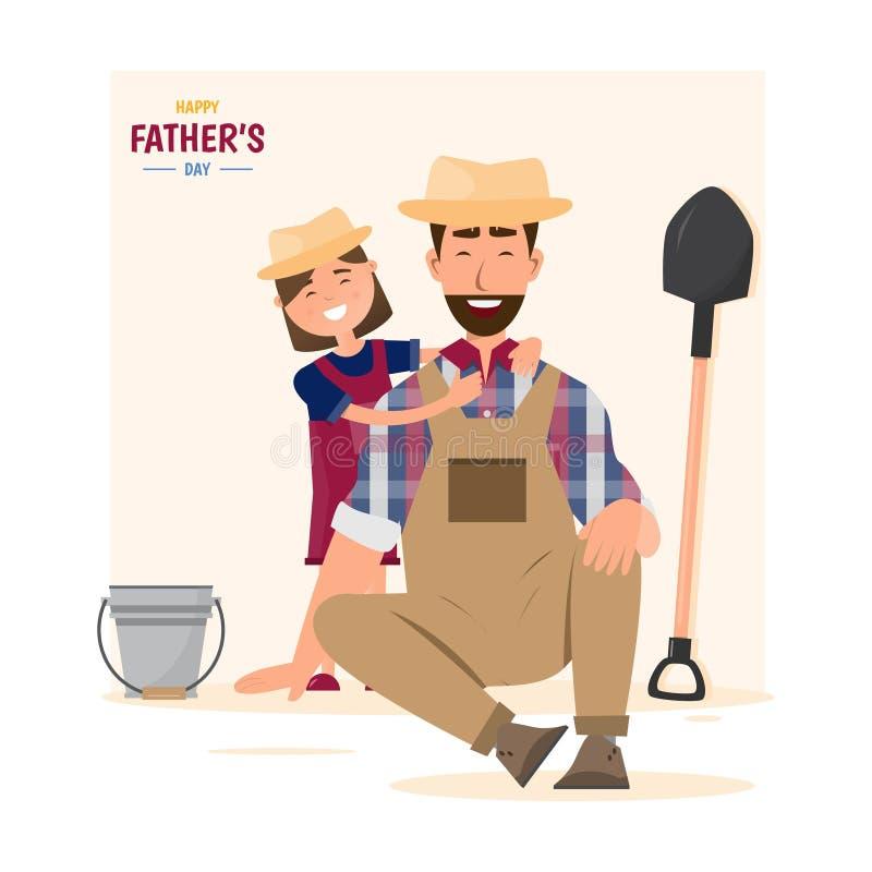 Счастливое father' день s дочь обнять ее папы бесплатная иллюстрация