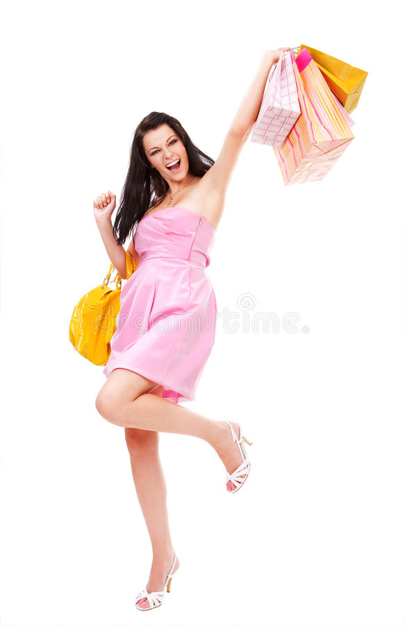 счастливое shopaholic стоковая фотография rf