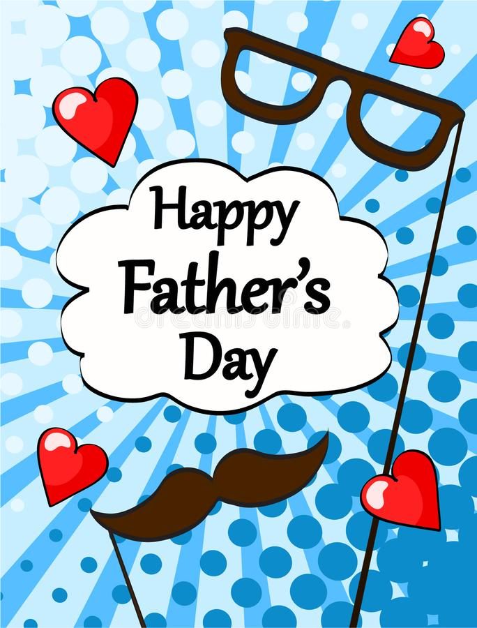 Счастливое styl искусства шипучки поздравительной открытки дня отцов винтажное ретро шуточное иллюстрация вектора