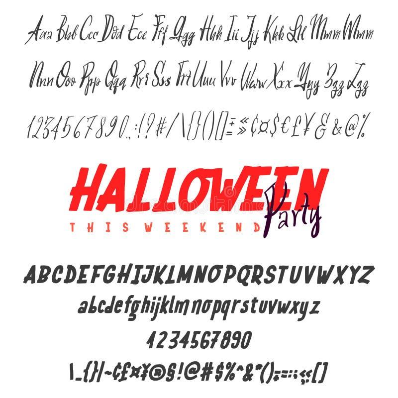Счастливой комплект пальмиры хеллоуина нарисованный рукой изолированный на белизне Шрифт логотипа вектора Алфавит оформления для  бесплатная иллюстрация