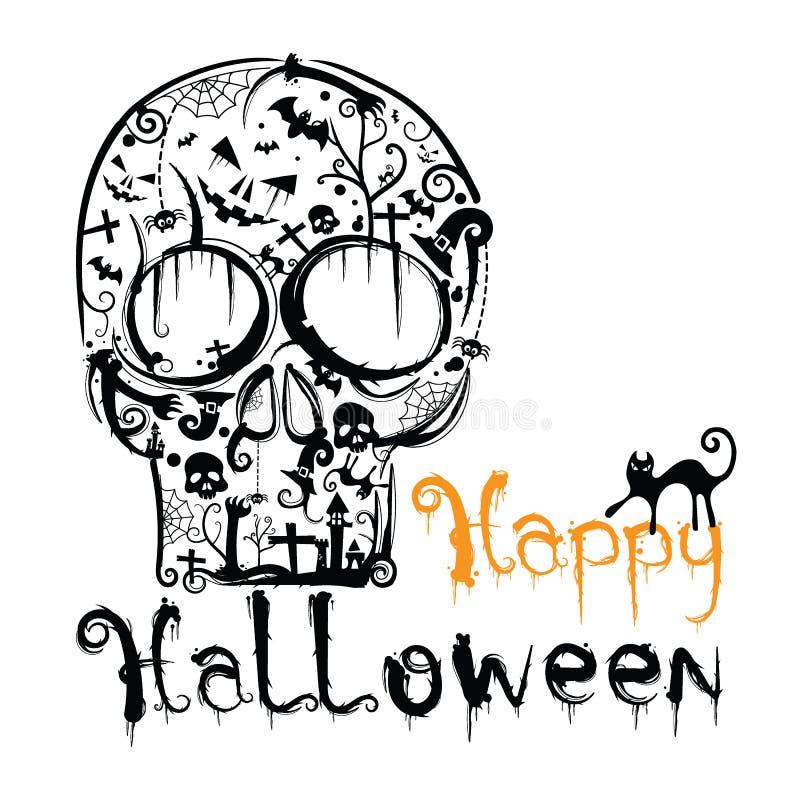 Счастливой литерность вектора хеллоуина нарисованная рукой бесплатная иллюстрация