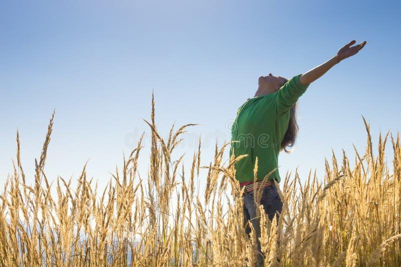 Счастливо в траве стоковые изображения
