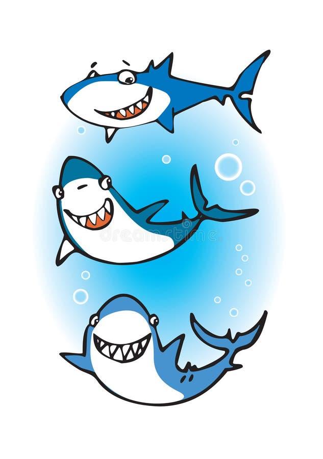 счастливые акулы 3 иллюстрация штока
