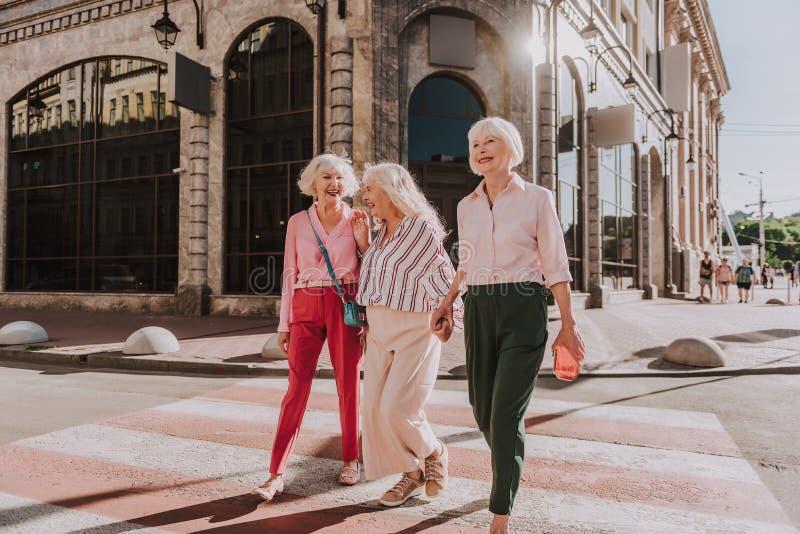 Счастливые более старые дамы имеют потеху совместно стоковые изображения rf