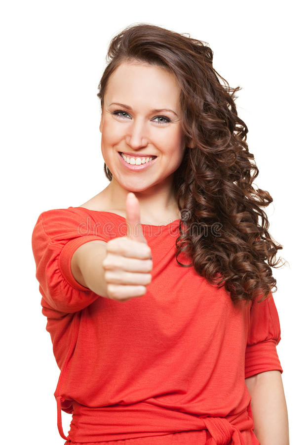 счастливые большие пальцы руки поднимают женщину стоковые фото