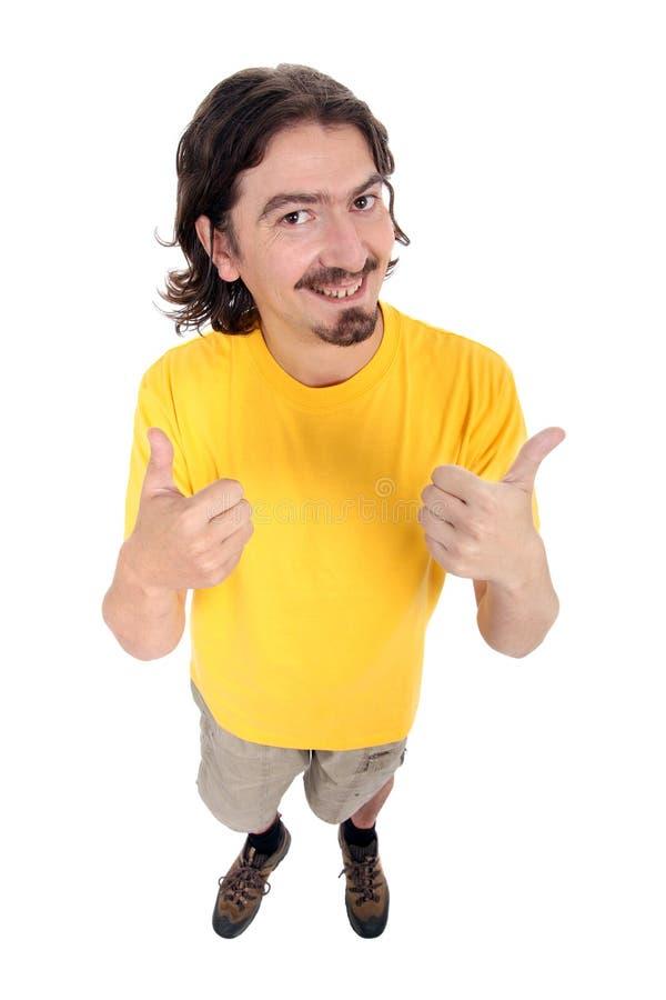 счастливые большие пальцы руки человека вверх стоковое изображение rf