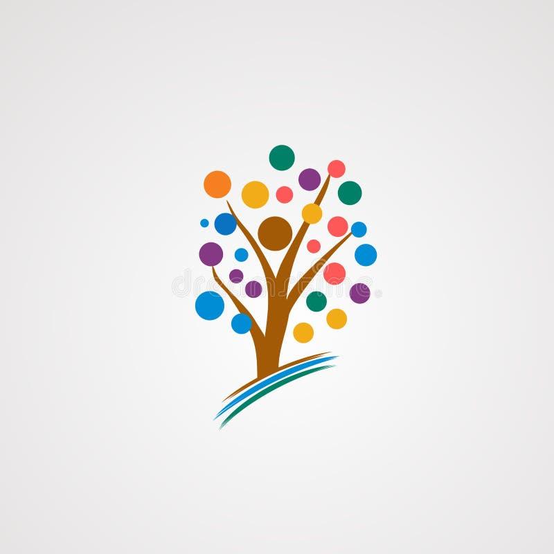 Счастливые вектор, значок, элемент, и шаблон логотипа дерева для компании иллюстрация штока