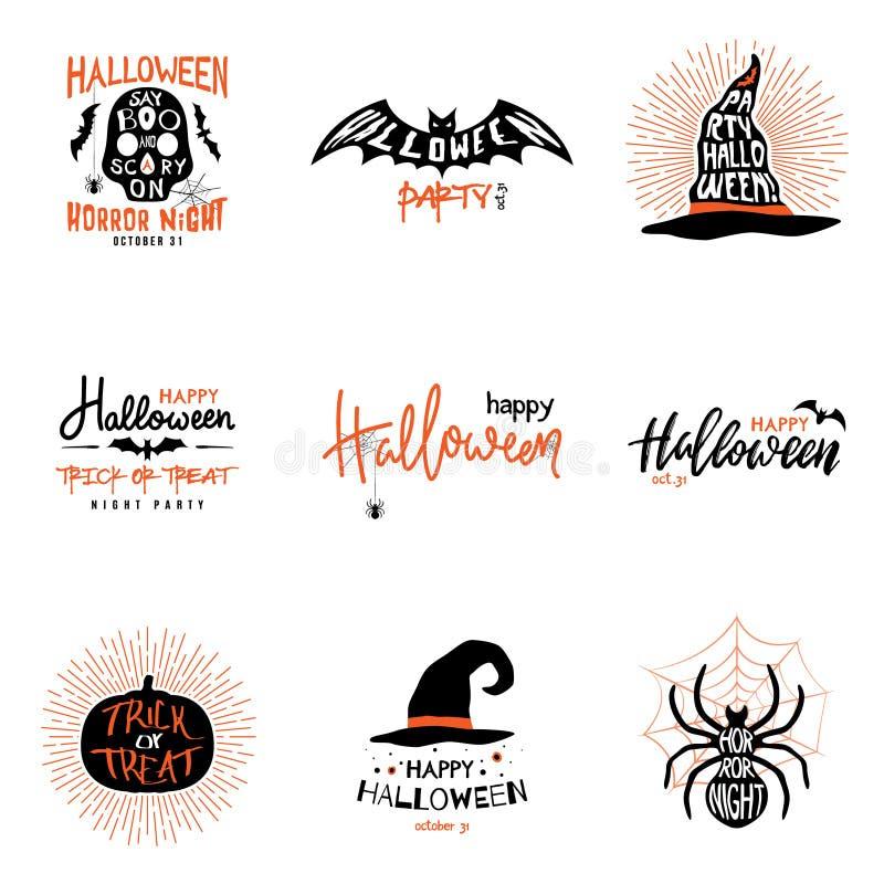 Счастливые верхние слои хеллоуина, помечая буквами ярлыки конструируют комплект иллюстрация вектора