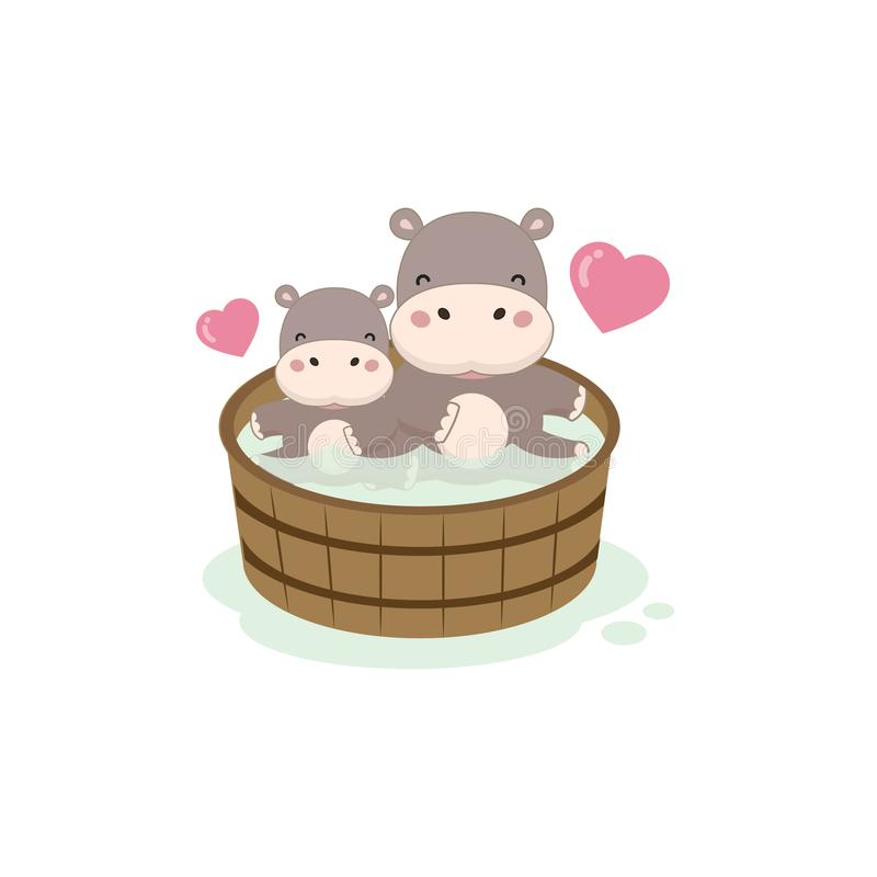Счастливые гиппопотам и младенец в деревянной ванне бесплатная иллюстрация