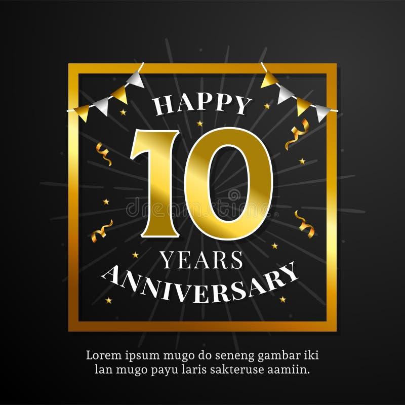 Счастливые 10 годовщины предпосылки лет дизайна вектора Черная бумага с золотой квадратной иллюстрацией орнамента рамки и флага д иллюстрация штока