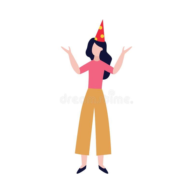 Счастливые девушка или женщина в иллюстрации вектора шляпы дня рождения плоской изолированной на белизне бесплатная иллюстрация