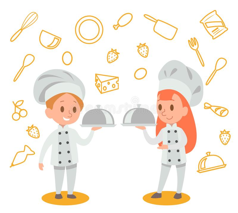 Счастливые дети варят и имеют потеху в дизайне вектора кухни нет 4 иллюстрация штока