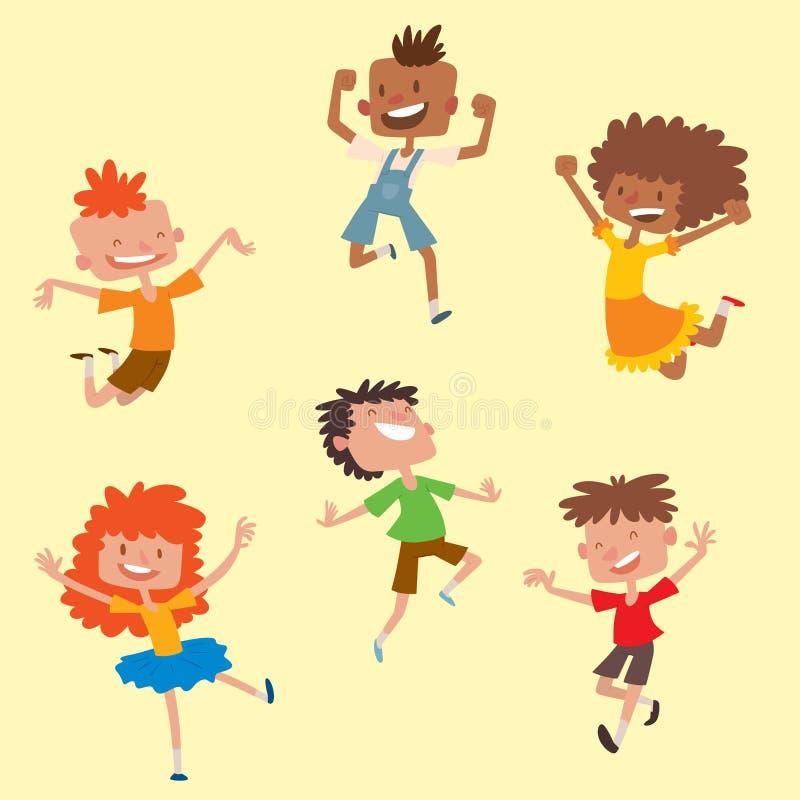 Счастливые дети в векторе различных положений большом скача жизнерадостная группа ребенка и команда смешных детей мультфильма рад бесплатная иллюстрация