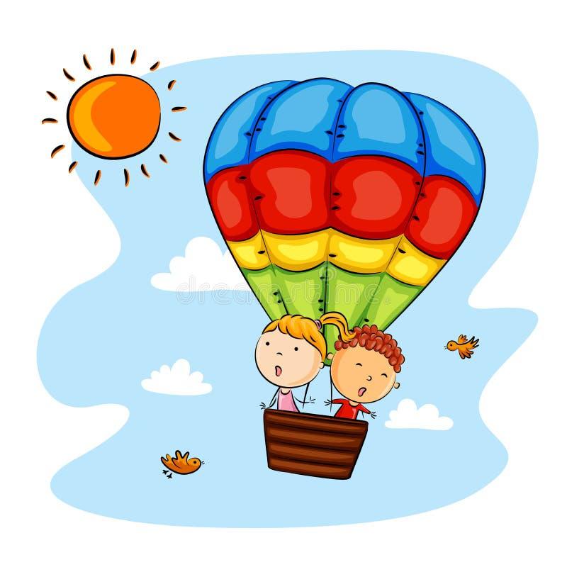 Счастливые дети ехать горячий воздушный шар бесплатная иллюстрация