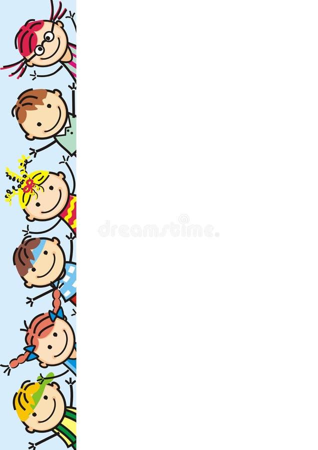 Счастливые дети, знамя, значок вектора Группа в составе девушки и мальчики бесплатная иллюстрация
