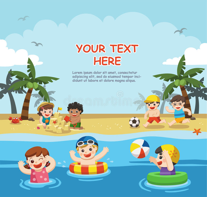 Счастливые дети играют и плавают на пляже бесплатная иллюстрация